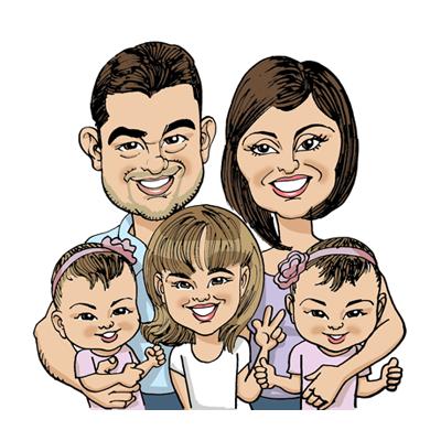 caricatura famiglia a colori