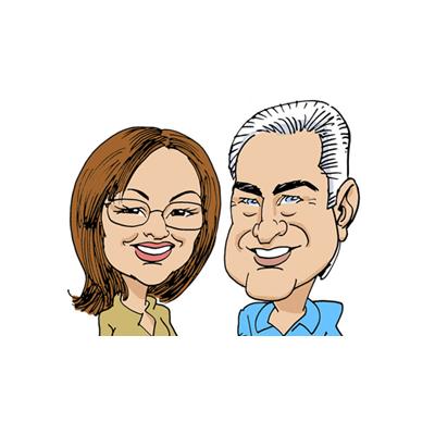 caricatura mamma e papà