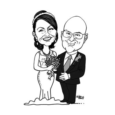 caricatura sposi bianco e nero
