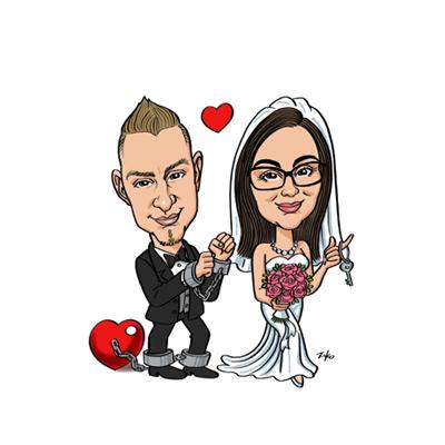 caricatura sposi con catene
