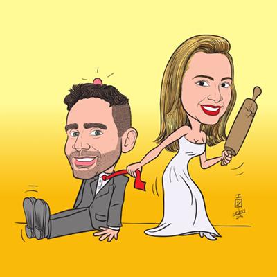 Caricatura sposi con mattarello