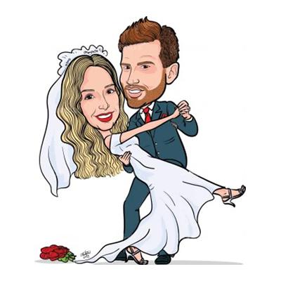 Caricatura sposi che danzano