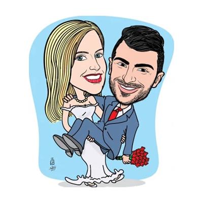 Caricatura sposo in braccio