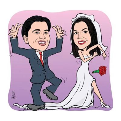 Caricatura sposi che ballano
