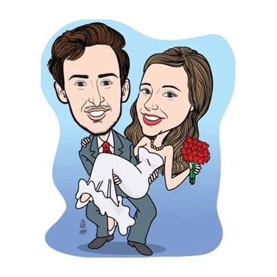 Caricatura con sposa in braccio