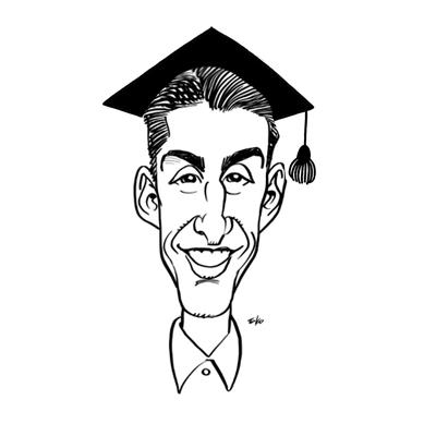 caricatura laurea bianco e nero