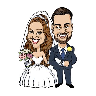 caricatura sposi divertente