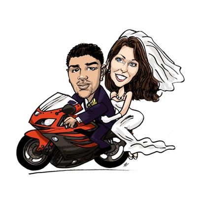caricatura sposi in moto