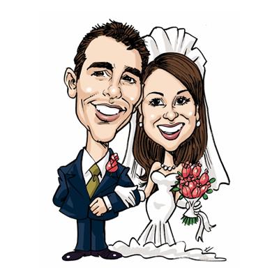 caricatura sposi sfondo bianco