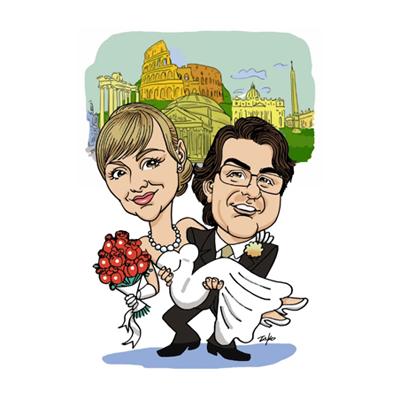 caricatura sposi sfondo personalizzato