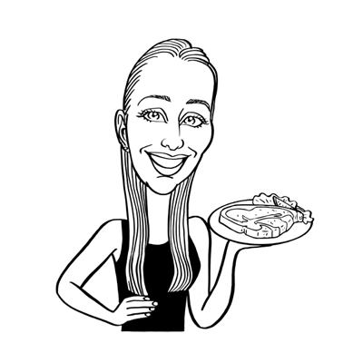caricatura cameriera