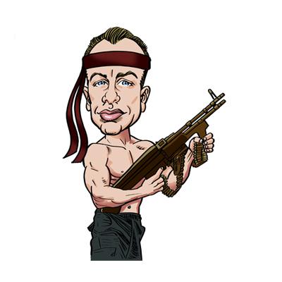 caricatura Rambo