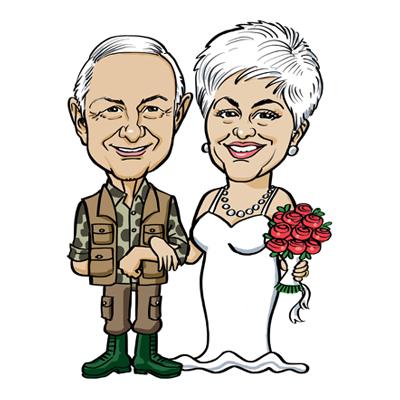 caricatura anniversario matrimonio