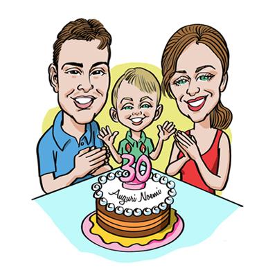 caricatura compleanno