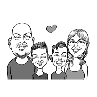 caricatura famiglia