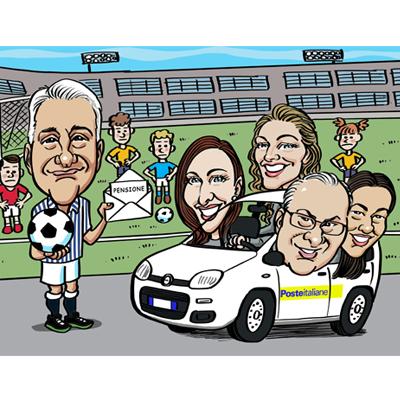 caricatura pensione postino