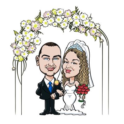 caricatura sposi arco