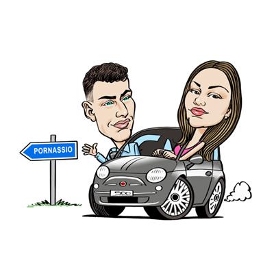 Caricatura coppia in auto Fiat 500