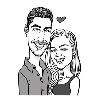 Caricatura coppia bianco e nero