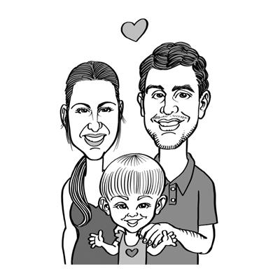 Caricatura coppia con bambino