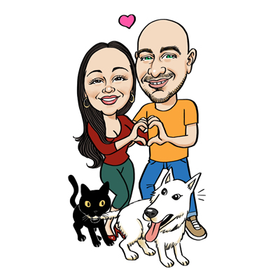 Caricatura coppia con cane e gatto