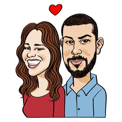 Caricatura coppia cuore