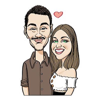 Caricatura coppia fidanzati