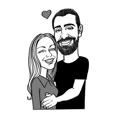 Caricatura coppia in bianco e nero