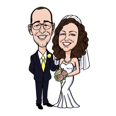 Caricatura coppia sposi