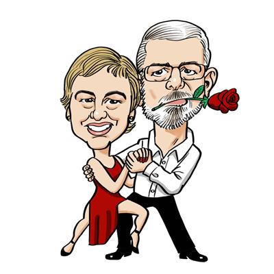 Caricatura coppia tango