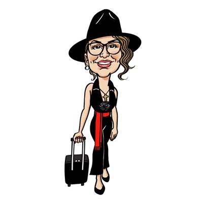 Caricatura donna con trolley