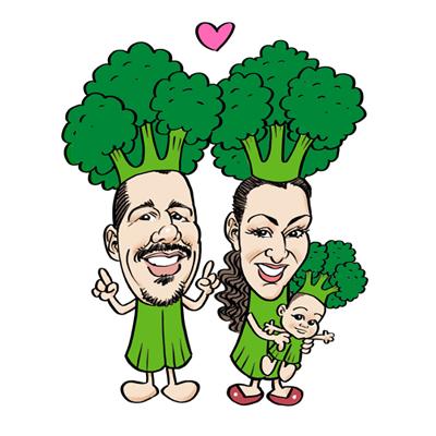 Caricatura famiglia broccoli