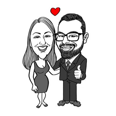 Caricatura fidanzati bianco e nero