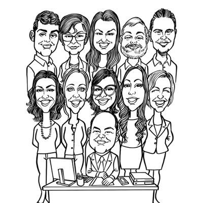 Caricatura gruppo impiegati