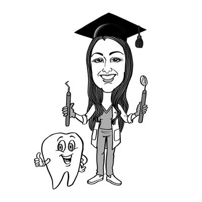 Caricatura laurea odontoiatria