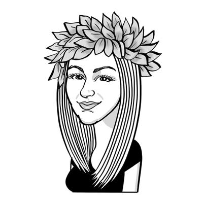 Caricatura laurea ragazza con corona alloro