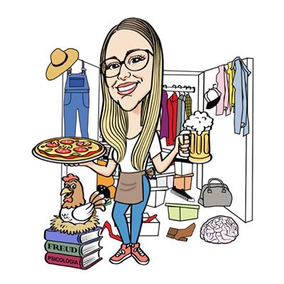 Caricatura laurea ragazza con pizza