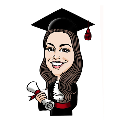 Caricatura laurea tocco diploma