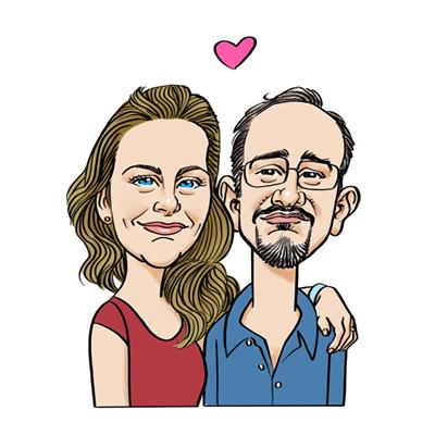 Caricatura marito e moglie