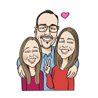 Caricatura padre e figlie