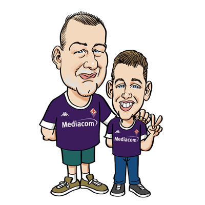 Caricatura padre e figlio maglia Fiorentina