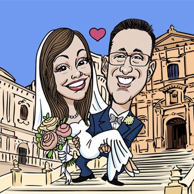 Caricatura sposi chiesa