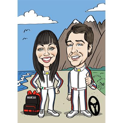 Caricatura team automobilistico
