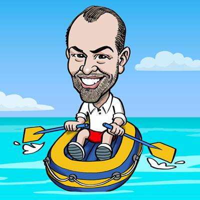 Caricatura uomo in canotto