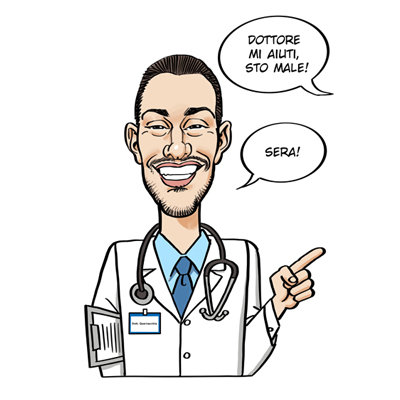 Caricatura vignetta dottore