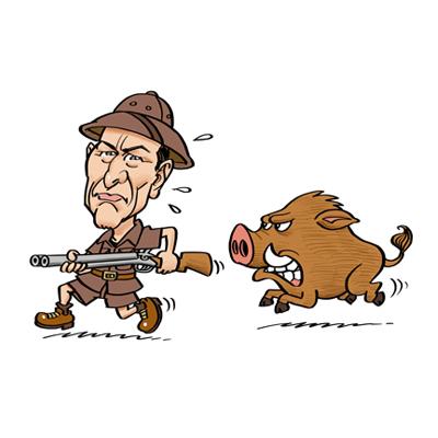 caricatura cacciatore con cinghiale