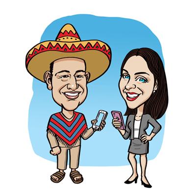 caricatura coppia italo messicana