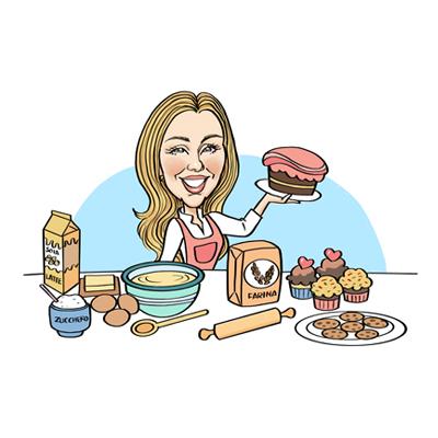 caricatura laurea ragazza chef