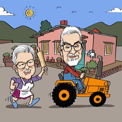 Caricatura anniversario 50 anni di matrimonio