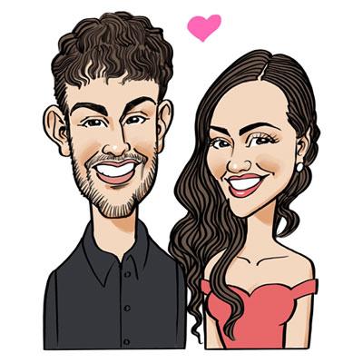 Caricatura anniversario di fidanzamento